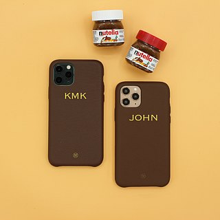 Customized Multicolor Real Leather Series Macaron Dream Color Chocolate Brown iPhone Case