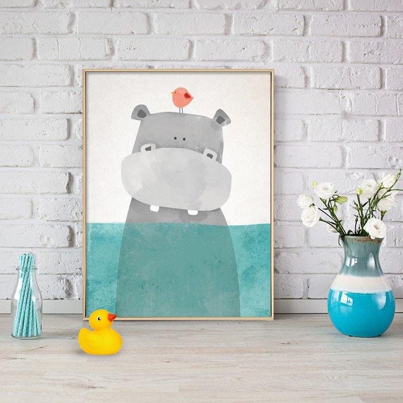 洗澡的河馬-畫/兒童房掛畫/居家裝飾/兒童禮物/複製畫/臥房掛畫