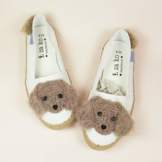 White cotton hand-made canvas shoes hairy sausage with weaving