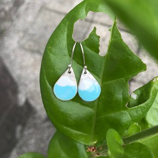 Silver earrings, small water blue