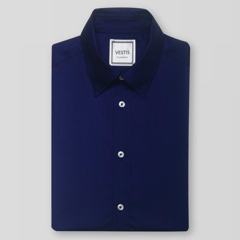 紳士藍男性商務休閒襯衫 - 合身版/歐洲進口100%純棉面料
