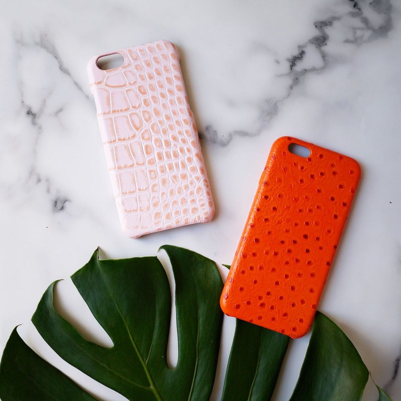 AOORTI :: Apple iPhone 6s/6s Plus Handmade Leather Coat Case/Mobile Phone Case - Crocodile/Quartz Powder