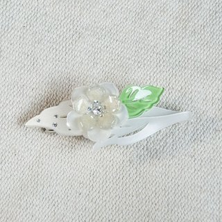 Colorful flower enamel, painted acrylic automatic clip, flat clip, hairpin - white