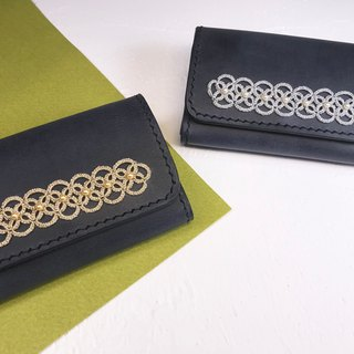 Tatted lace leather card case(dark navy blue) / coin pure / handmade