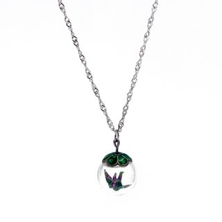 Paper cranes glass ball necklace (leafy jungle) - Christmas gifts