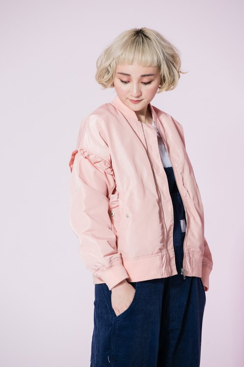 : EMPHASIZE sleeve lotus leaf trim Fitted flight jacket MA1- light pink