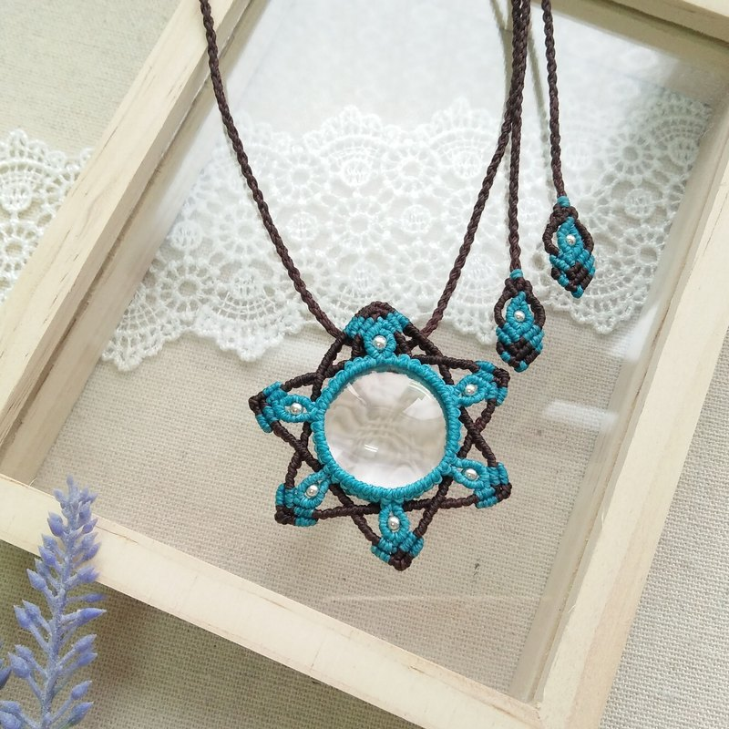 BUHO hand made. Magic color stars (sea blue). White Crystal X South American wax wax necklace