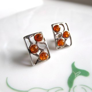 【Purple】 Amber x 925 Silver - Earrings Series - Handmade Natural Stone Series