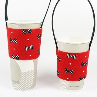 Beverage Cup Set Eco Cup Holder Bag - Bow (Red)