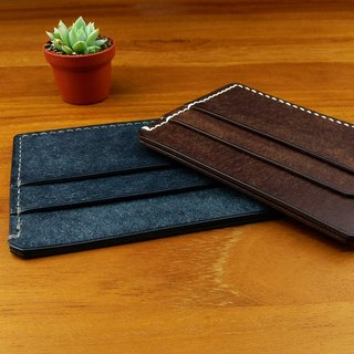 Simple and lightweight card holder Italian grinding leather series