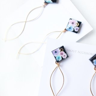 Flower Series - Small Water Angle Copper Earrings / Ear Clips