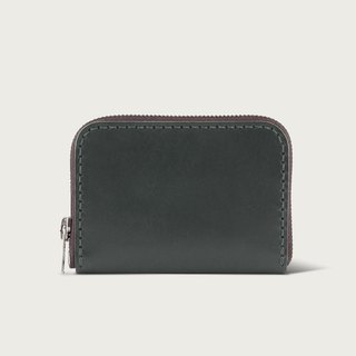 U-shaped zipper short clip / coin purse / wallet - Forest Green