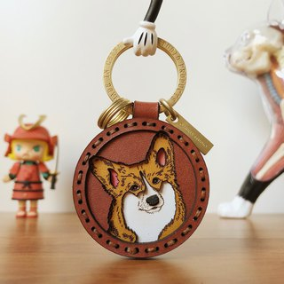 Corgi dog original design leather key ring pendant couple birthday gift boyfriend girlfriend custom gift