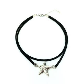 Silver small diamond stars - double black necklace