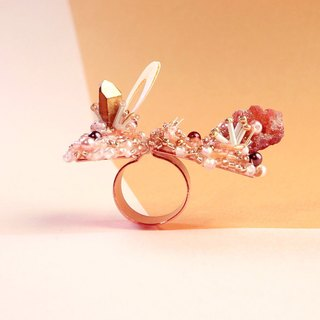 Planet - Peach. Honey Spar Island Ring