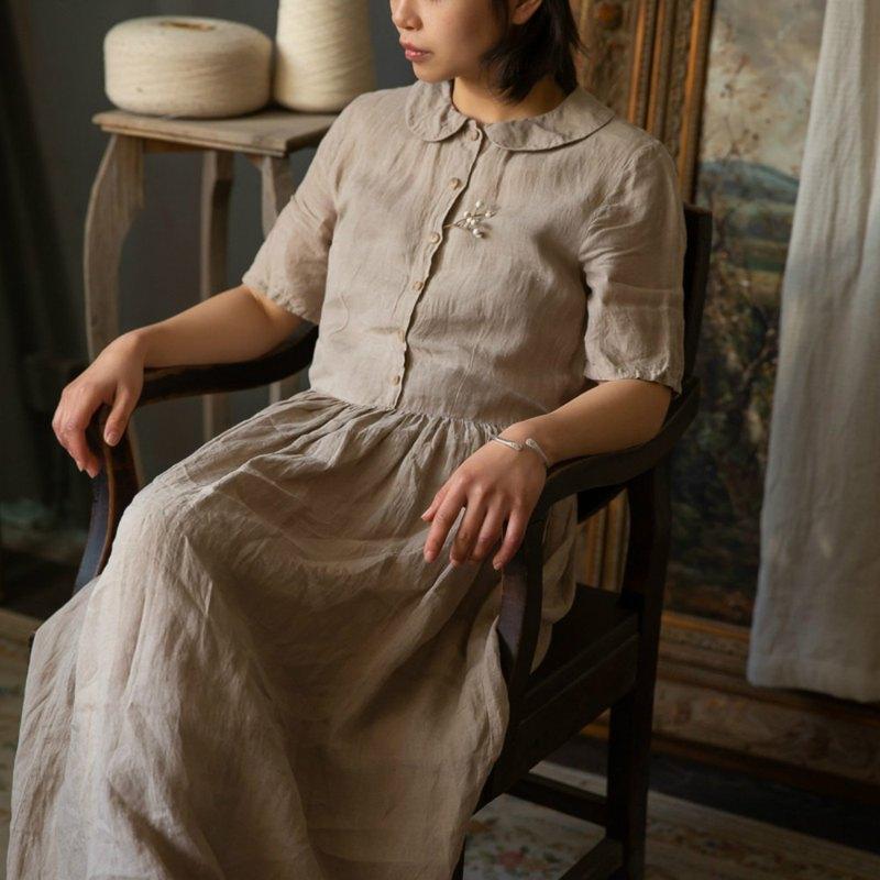 彼得潘 | 茶染色 收腰複古短袖洋裝 春夏亞麻手作植物藍染連衣裙