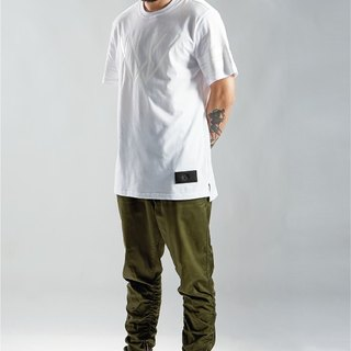HWPD│ short in front long split Edition T-Shirt matte white (refer to Kanye West / Yeezy / Justin Bieber)