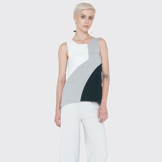 Sleeveless Colorblocked Top (Black)