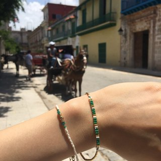 Ololssim 2 sets of green lines Bracelet