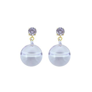 Crystal top short earring - purple