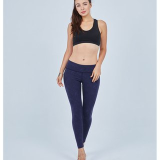 Aurora stretch tight yoga pants / dark blue map