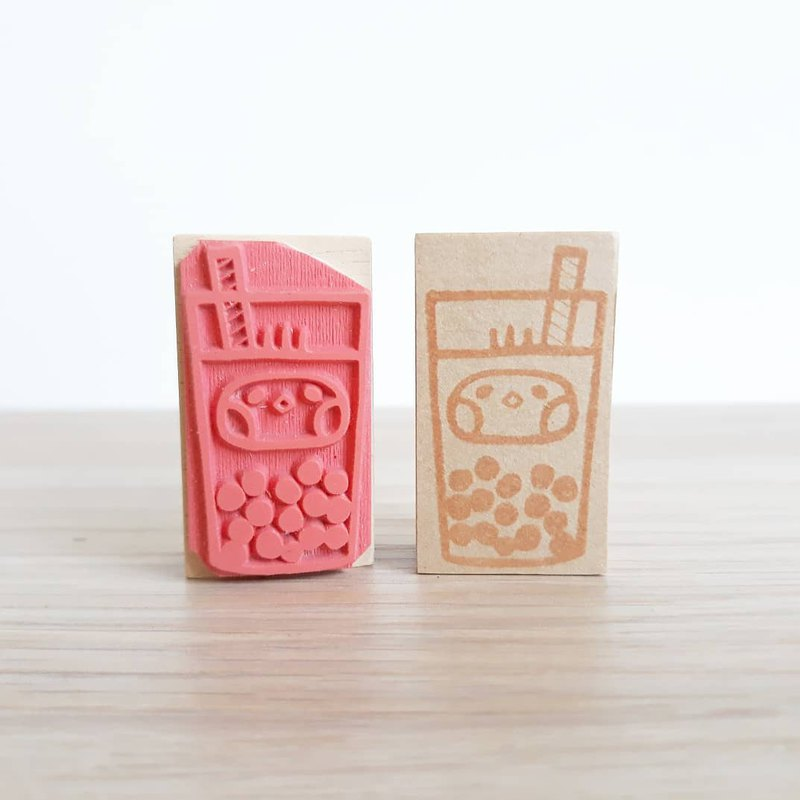 Bubble tea Wooden rubber stamp