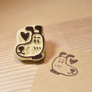 Shy dog ​​hand rubber stamp
