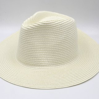 [Paper cloth home] big hat gentleman hat (white) paper line weaving