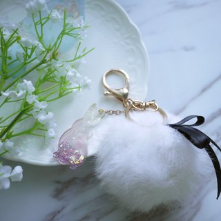 Pure white feathers - villi x star rabbit body key ring [Panna Cotta]