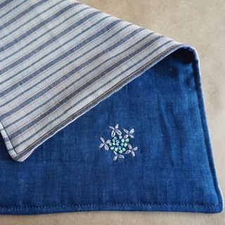 "Hand embroidered quadruple gauze handkerchief ""Hydrangea 1""[order-receiving production]"