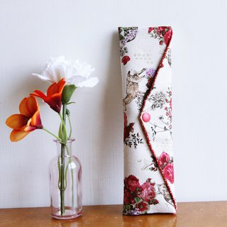 Wen Qing style green chopsticks bag ~ a kind of Acacia rice temperament. Rose. Storage bag. Green chopsticks bag. Hand made cutlery bag. Exchange gifts.