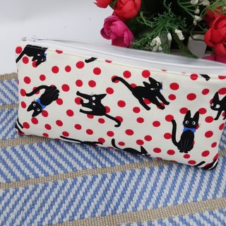 Light yellow black cat pen bag / storage bag universal bag pencil case cosmetic bag*SK*