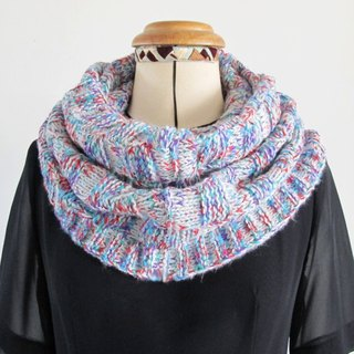 Blue wool scarf (pink purple white)