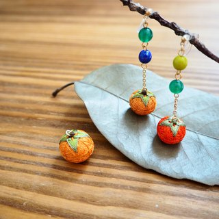 tachibanaya earrings Japanese TEMARI de Persimmon Asymmetry Fall Fruit