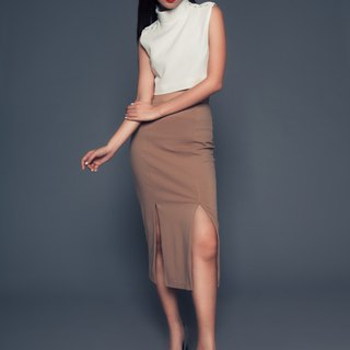 Aimee Pencil Skirt in Tan