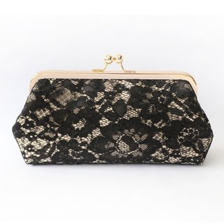 Handmade Clutch Bag in Black champagne & Rose Gold