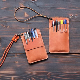Leather doctor robe pencil bag │ pocket type pencil bag │ blue black