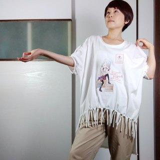 Do not trim the sidewear @Puff sleeves original illustration cotton T-shirt