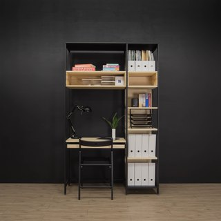 Creesor - Shido 40 Industrial Wind Cabinet Bookcase Desk