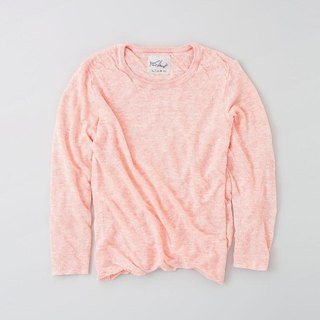 Linen knit women / M long-sleeved pullover pink