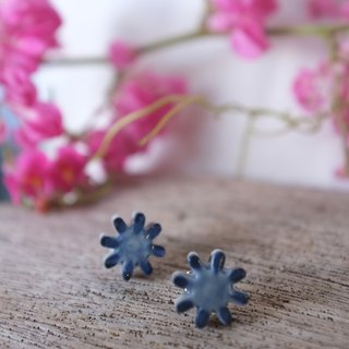 handmade ceramic earrings -  indigo Flower