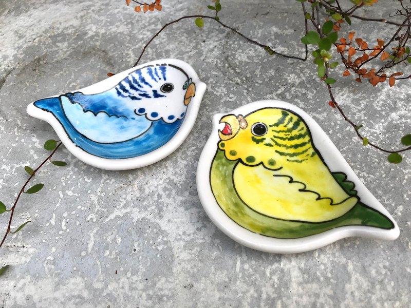 聖誕禮物首選 虎皮鸚鵡 鳥兒手捏筷架豆皿小碟 一組兩件