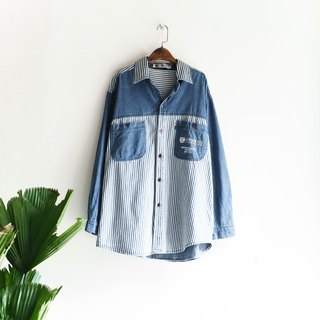 River Hill - blue stripes currents independence era tannins antique vintage shirt Jacket neutral shirt oversize vintage