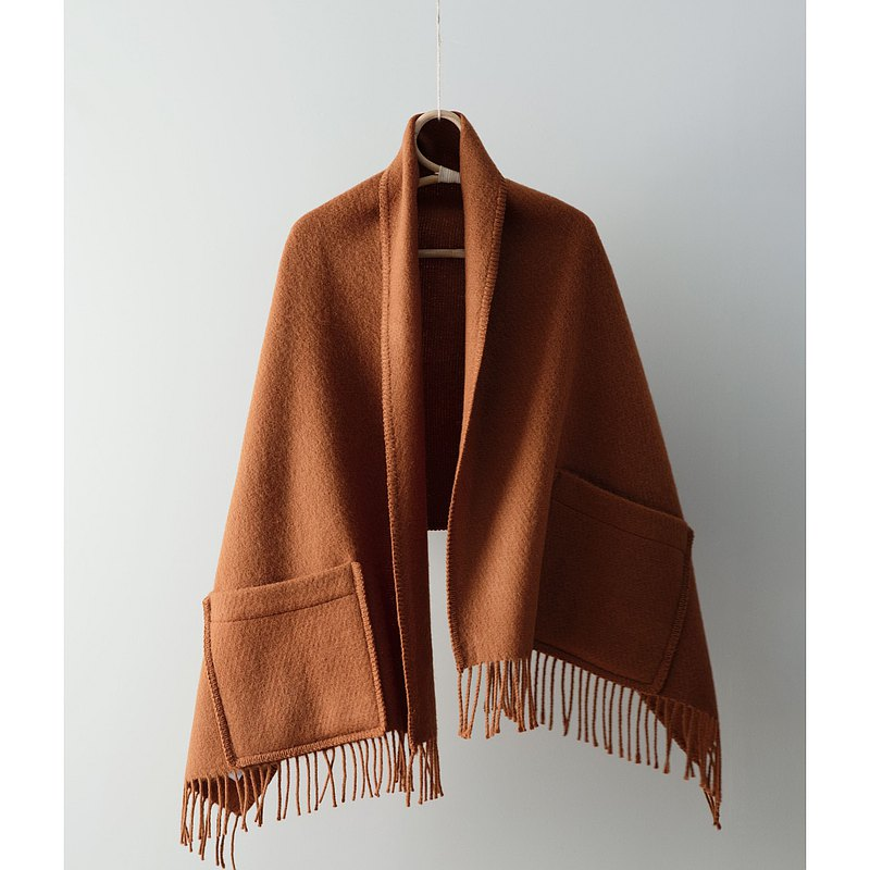 UNI Wool Pocket Shawl (Cinnamon Orange)