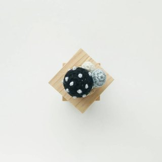 Black Polka Dots Crochet Button Cover