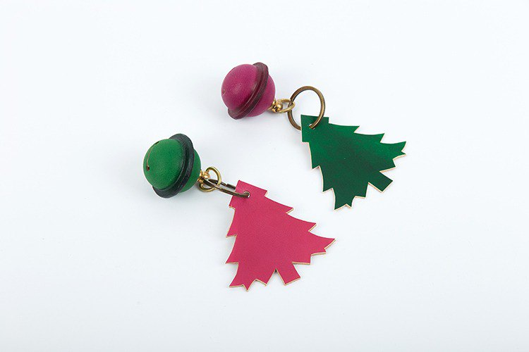 [Tangent School] Leather Bell Christmas Tree Key Ring