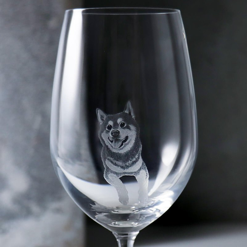 425cc [Pet Carving] (Realistic Version) Shiba Inu Wine Glass