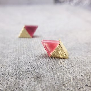Diamond-shaped split ear pin - Han red (pair) = can change ear clip =