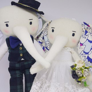 Handmade Wedding Elephant Couple