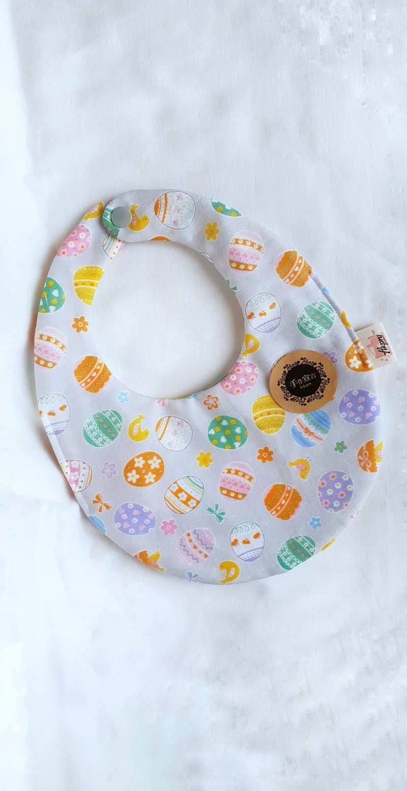 Chicken Painted Egg - Grey - Eight Layers 100% Cotton Double Sided Egg Bib